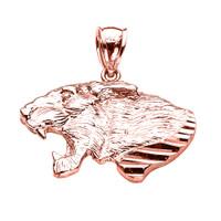 Rose Gold Diamond Cut Roaring Lion Head Pendant