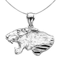 Sterling Silver Diamond Cut Roaring Lion Head Pendant Necklace