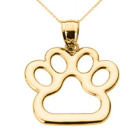 Yellow Gold Dog Paw Print Pendant Necklace