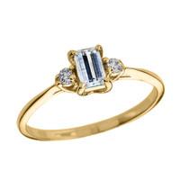 Yellow Gold Diamond and Aquamarine Proposal and Birthstone Ring