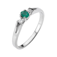 Beautiful White Gold Diamond with Emerald Proposal and Birthstone Ring