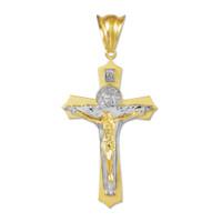 Two-Tone Gold Holy Trinity Crucifix Pendant Midsize