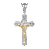 White Two-Tone Gold Holy Trinity Crucifix Pendant Midsize