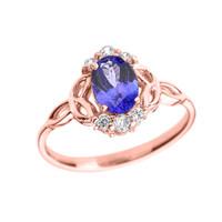 Rose Gold Tanzanite and Diamond Trinity Knot Proposal Ring