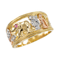 Tri-tone Solid Gold Red CZ Lucky Ring