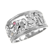 White Solid Gold Red CZ Lucky Ring