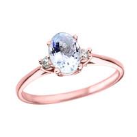 Rose Gold Oval Aquamarine and Diamond Engagement Proposal Ring