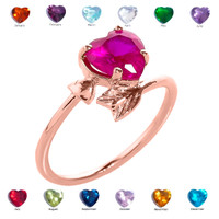 Rose Gold Heart and Arrow Birthstone Cubic Zirconia Ladies Ring