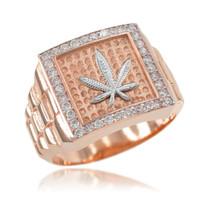 Rose Gold Watchband Design Men's Marijuana CZ Ring