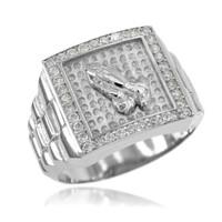 White Gold Watchband Design Men's Pray CZ Ring