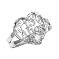 White Gold Quinceanera 15 Anos Heart CZ Ring