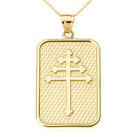 Yellow Gold Maronite Cross Pendant Necklace