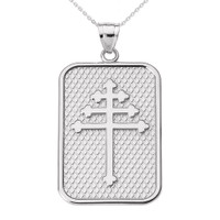 White Gold Maronite Cross Pendant Necklace