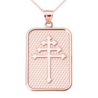 Rose Gold Maronite Cross Pendant Necklace