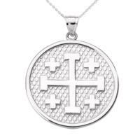 White Gold Jerusalem Cross Round Pendant Necklace