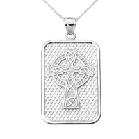 White Gold Trinity Knot Celtic Cross Pendant Necklace