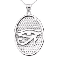 White Gold Eye of Horus Oval Pendant Necklace