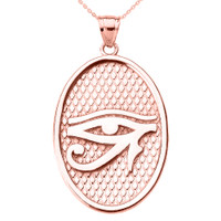 Rose Gold Eye of Horus Oval Pendant Necklace