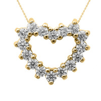 Yellow Gold Cubic Zirconia Open Heart Necklace