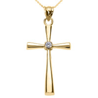Yellow Gold Solitaire Diamond Cross Pendant Necklace