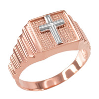 Rose Gold Cross Square Mens Ring