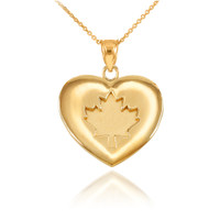 Solid Yellow Gold Maple Leaf Heart Pendant Necklace