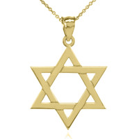 Solid Yellow Gold Jewish Star of David Pendant Necklace (Large)