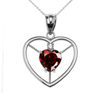 Elegant Sterling Silver Diamond and January Birthstone Red Heart Solitaire Pendant Necklace