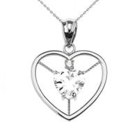Elegant White Gold Diamond and April Birthstone White CZ Heart Solitaire Pendant Necklace