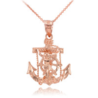 Rose Gold Mariner Crucifix Anchor Cross Pendant Necklace