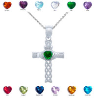 Sterling Silver Celtic Cross Birthstone Pendant Necklace with CZ Heart