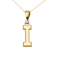 "Yellow Gold High Polish Milgrain Solitaire Diamond ""I"" Initial Pendant Necklace"