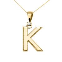 "Yellow Gold High Polish Milgrain Solitaire Diamond ""K"" Initial Pendant Necklace"