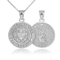 White Gold US Navy Reversible St. Michael Pendant Necklace