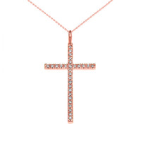 Rose Gold Dainty Cubic Zirconia Cross Pendant Necklace