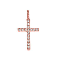 Rose Gold Cubic Zirconia Cross Charm Pendant Necklace