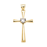 Beautiful Yellow Gold Solitaire Diamond Cross Dainty Pendant Necklace