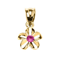 Delicate Yellow Gold Hawaiian Plumeria Pinkish Red CZ Charm Pendant Necklace