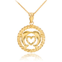 Gold Heart Kissing Dolphins in Circle Rope Pendant Necklace