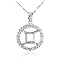 Sterling Silver Gemini Zodiac Sign in Circle Rope Pendant Necklace