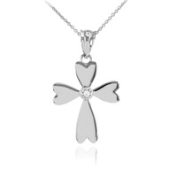 White Gold Solitaire Diamond Heart Cross Charm Pendant Necklace