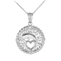 Silver Roped Circle Jumping Dolphin Heart Filigree CZ Pendant Necklace
