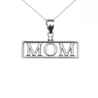 "White Gold ""MOM"" Cubic Zirconia Pendant Necklace"