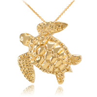 Yellow Gold Turtle Pendant Necklace