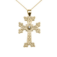 Yellow Gold Armenian Cross Solitaire Diamond Pendant Necklace