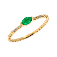 Yellow Gold Dainty Solitaire Marquise Lab Created Emerald and Diamond Rope Design Engagement/Proposal/Stackable Ring