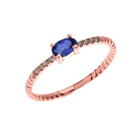 Rose Gold Dainty Solitaire Oval Sapphire and Diamond Rope Design Engagement/Proposal/Stackable Ring
