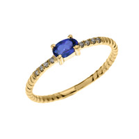 Yellow Gold Dainty Solitaire Oval Sapphire and Diamond Rope Design Engagement/Proposal/Stackable Ring