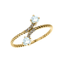 Yellow Gold Dainty Two Stone Aquamarine and Diamond Rope Design Promise Ring