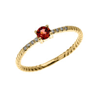 Yellow Gold Dainty Solitaire Garnet and Diamond Rope Design Engagement/Proposal/Stackable Ring
